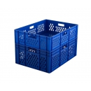 Stapelbare blauwe bak 800 x 600 mm opengewerkte zijkanten PROVOST