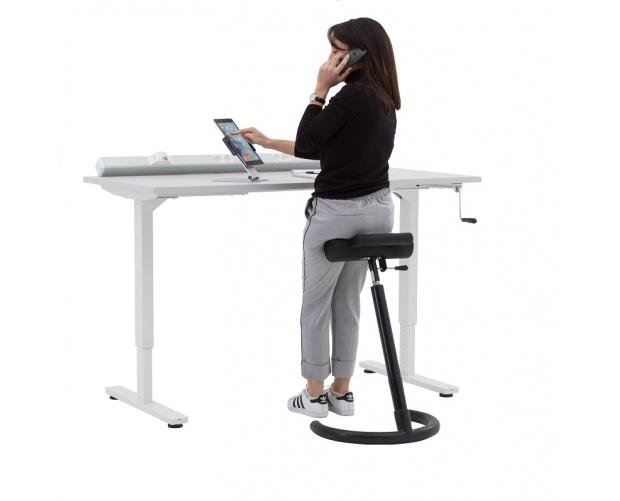 Bureau assis debout manuel r glable en hauteur - Table de travail reglable en hauteur ...