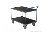 Tafelwagen - 2 plaatstalen legborden met zwart geribbeld rubber PROVOST