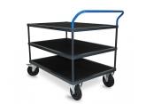 Tafelwagen - 3 houten legborden met zwart geribbeld rubber PROVOST