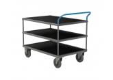 Tafelwagen - 3 plaatstalen legborden met zwart geribbeld rubber PROVOST